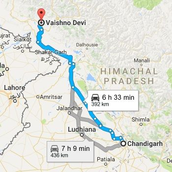Chandigarh to Vaishno Devi Route Map
